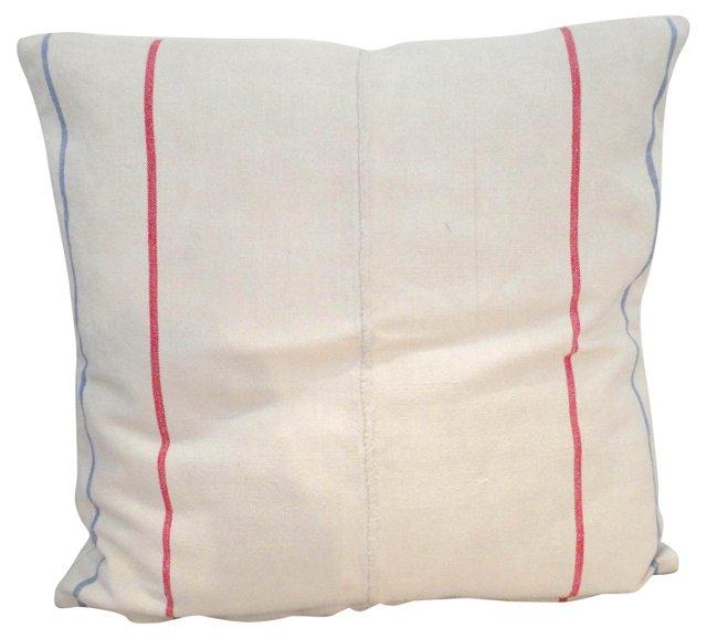 Red-Striped Homespun Linen Pillow