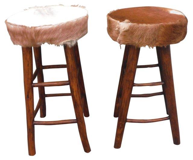 Hickory Bar Stools, Pair