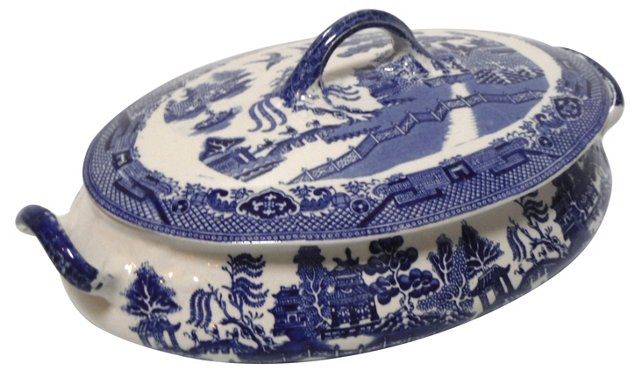English Blue Willow Tureen