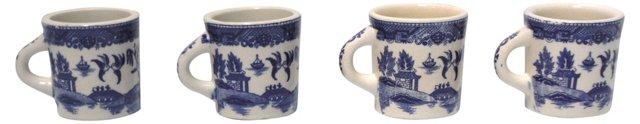 Blue Willow Mugs, Set of 4