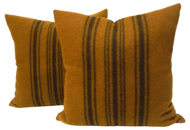 19th-C. Horse Blanket    Pillows, Pair