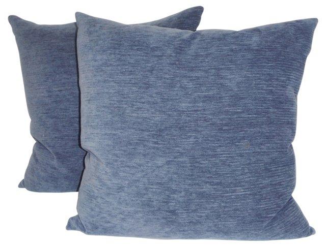 Sky Blue Chenille Pillows, Pair