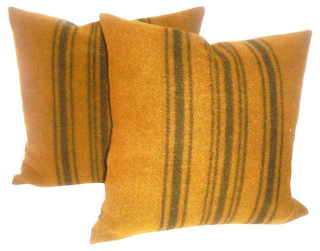 Pillows w/ 19th-C. Horse  Blanket, Pair