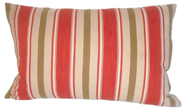 Pillow w/ 19th-C. Striped Ticking