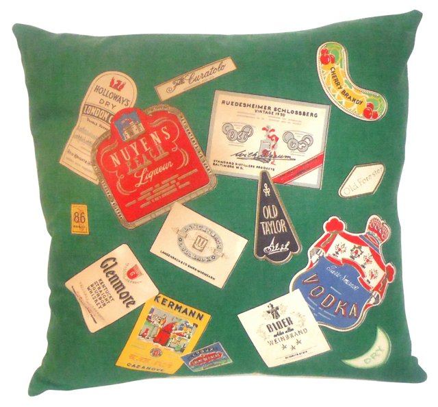 Pillow w/ 1940s   Tablecloth