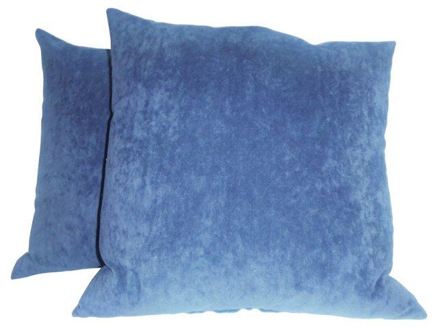 Blue    Velvet Pillows, Pair