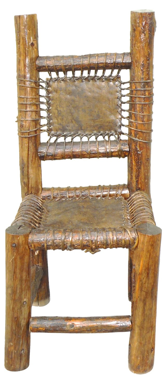 Large Hickory Rustic Side Chair