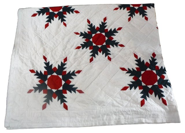 19th-C. Feathered Star Quilt
