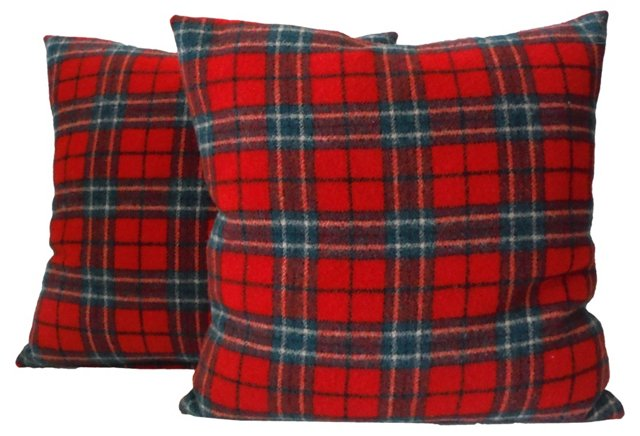 Red & Green Plaid Pillows, Pair
