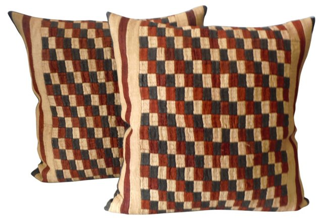 Kuba Cloth Pillows, Pair