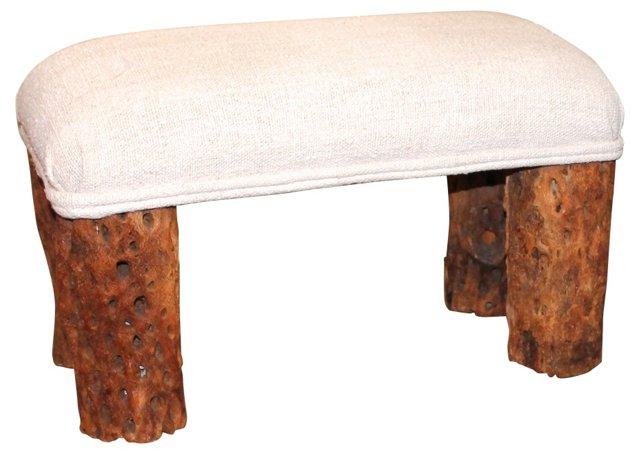 Linen Bench w/ Petrified Cactus Legs