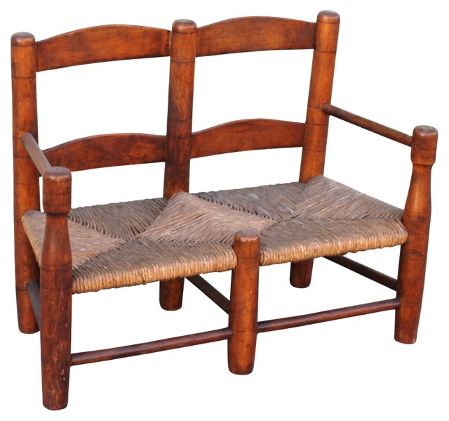 19th-C. Child's Ladder-Back Settee
