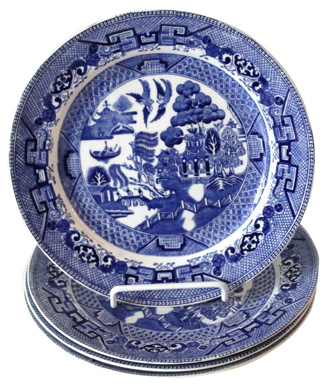 English Willow Plates, S/4