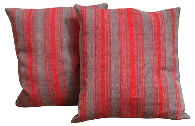Pillows w/ 19th-C. Wool Ticking, Pair