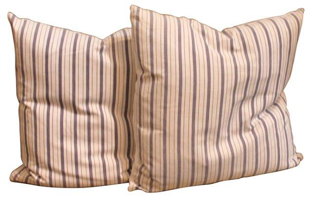 Ticking Pillows, Pair