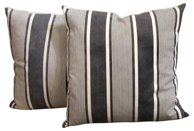 Black-Striped Ticking Pillows, Pair