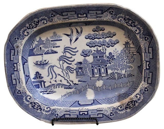 Early Staffordshire Blue Willow Platter