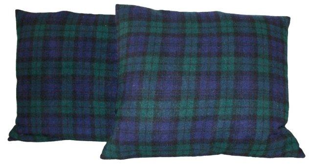 Green & Blue   Plaid Pillows, Pair