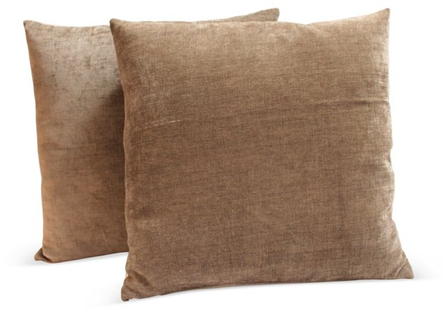 Taupe  Velvet  Pillows, Pair