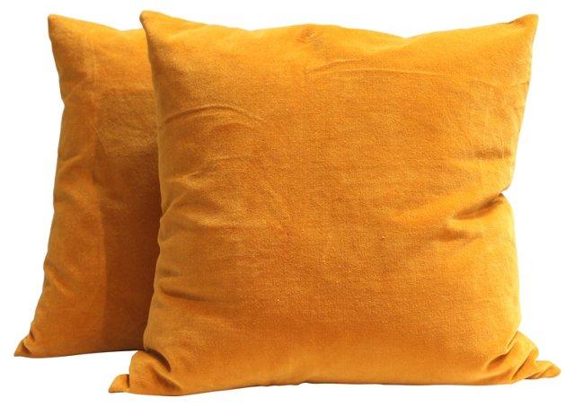 Gold Velvet Pillows, Pair