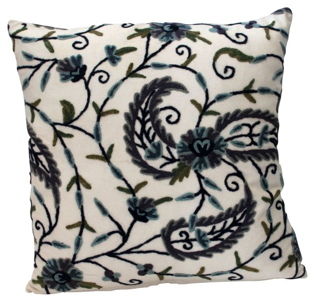 Crewel on  Linen Pillow