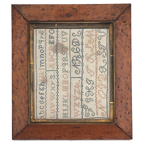 Early-19th-C. Framed Sewn Sampler