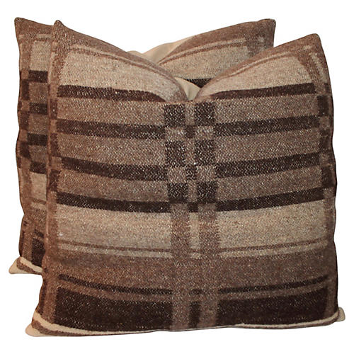 19th-C. Horse Blanket Pillows, Pair