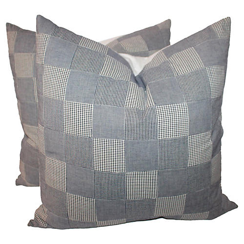 Patchwork Ticking Pillows, Pair