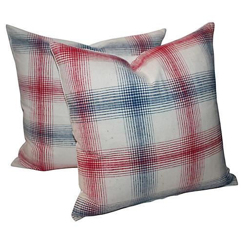 Plaid Ticking Pillows, Pair