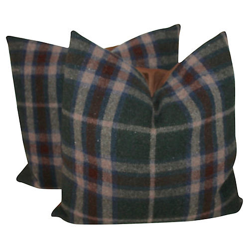 Brown & Green Plaid Pillows