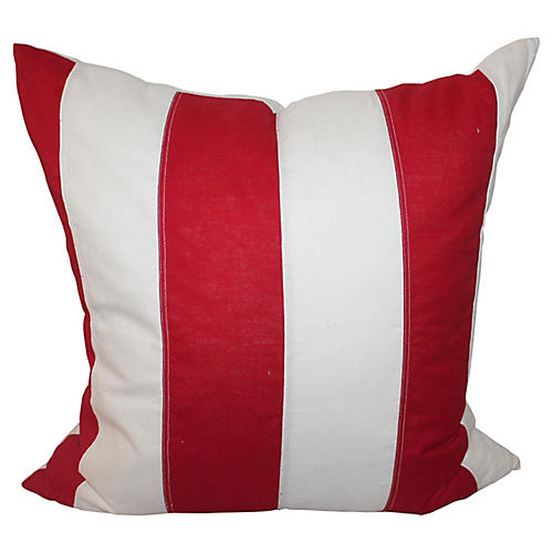 Red & White Striped Flag Pillow