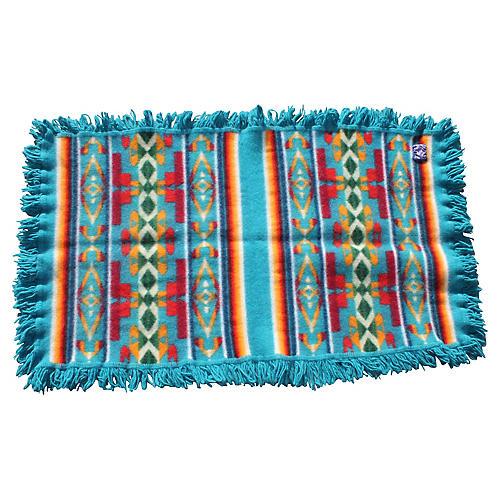 Aqua Pendleton Blanket W/Fringe