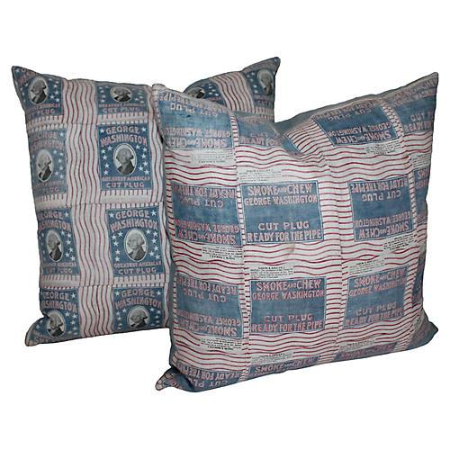 19th-C. Cigar Ad Pillows, Pair
