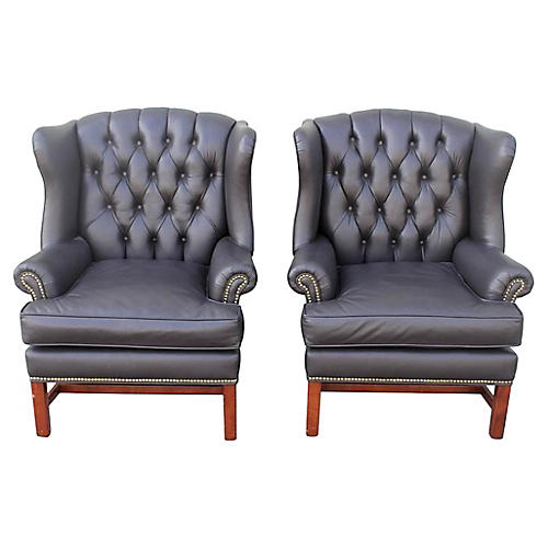 1950s Leather Wingback Chairs, Pair