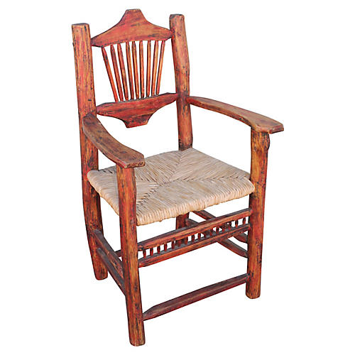 Salmon Hickory & Rush Seat Side Chair