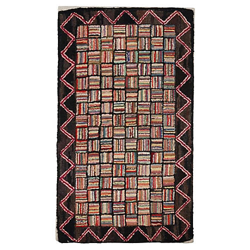 1930s Mounted Hand Hooked Log Cabin Rug
