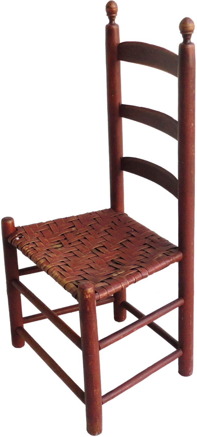 19th-C.   Red Ladder-Back Chair