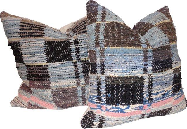 Rag Rug Pillows w/ Squares, Pair