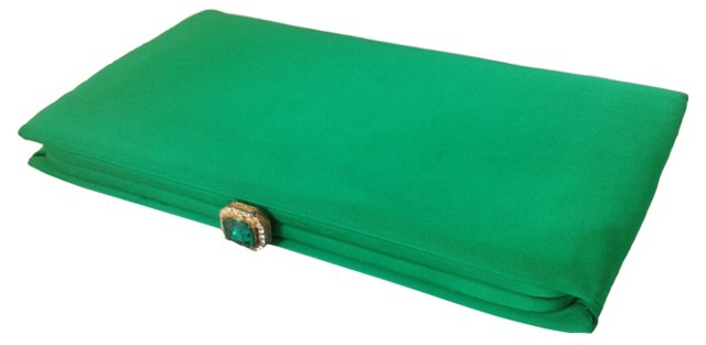Kelly Green Satin Clutch w/ Coin Purse