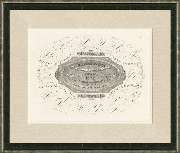 19th-C. Honor & Glory Calligraphy