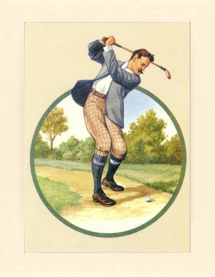 Vintage Golfer Print, 1989