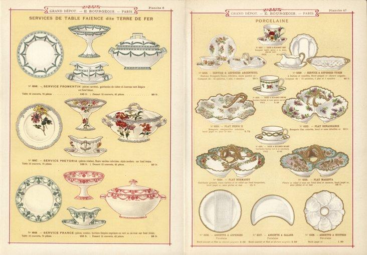Tableware Prints, C. 1890,   Pair