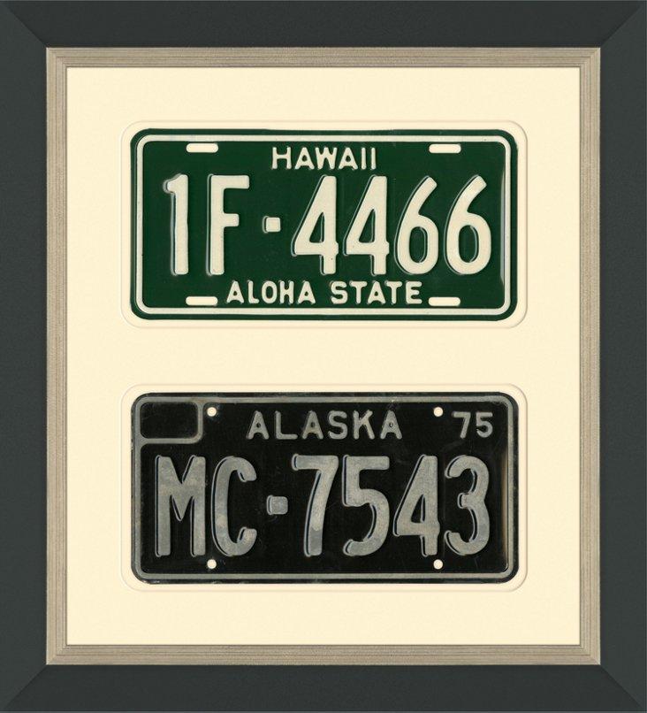 Framed HI & AK License Plates