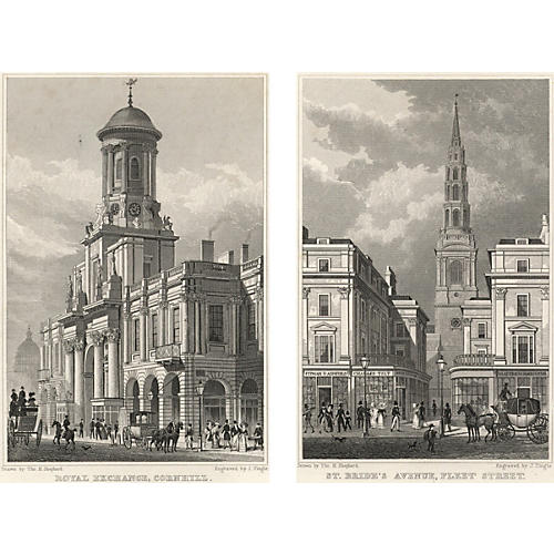 Views of London Prints I, Pair, 1828