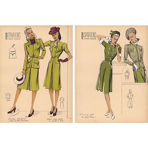 Pair of French Fashion Prints, 1940