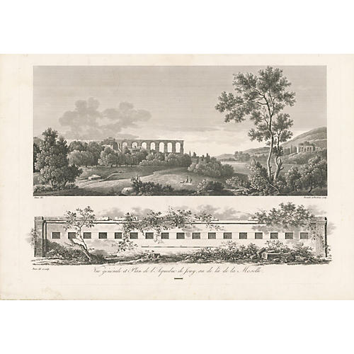 French Scene Aqueduct from River, 1820