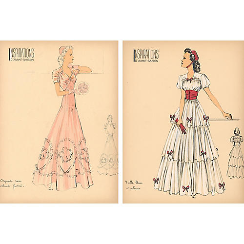 French Fashion Prints, Pair, 1938