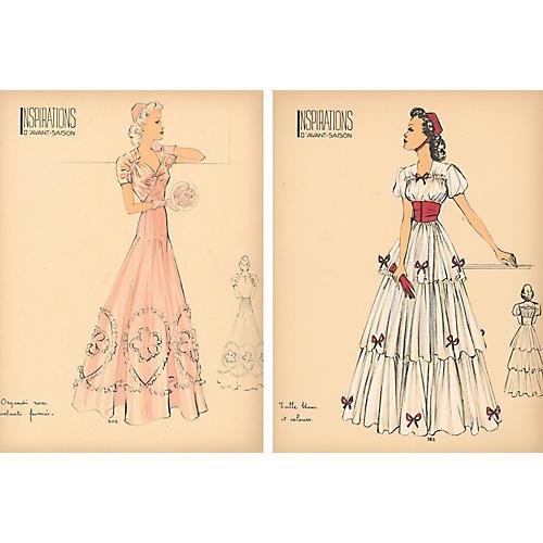 French Fashion Prints, Pair, 1938