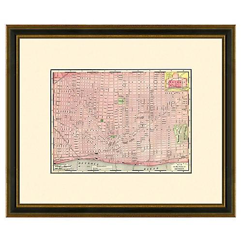 Framed Antique Map of Detroit 1886-1899