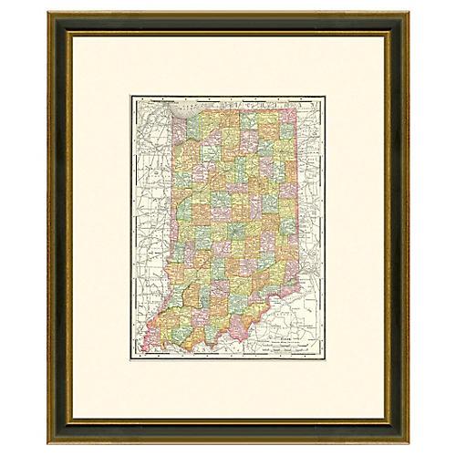 Framed Antique Map of Indiana, 1886-1899